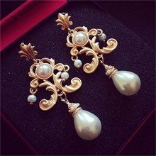 New Fashion Euramerican Palace Vintage Pop Baroque Style Brand Jewelry Pearl Earrings Hyperbole Pendientes Bridal Accessories