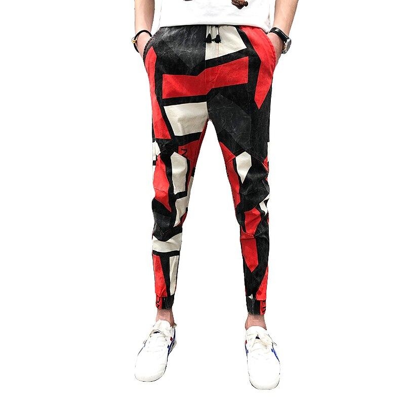 2019 Summer Fashion Brand New Pantalon Hombre Mens Joggers Pants Casual Slim Fit Ankle Length Print Harem Pants Men Trousers