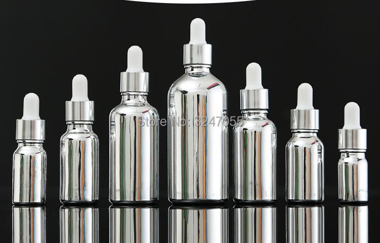 5ml10ml15ml20ml30ml50ml100ml Empty Glass Cosmetic Perfume/Fragrance Dropper Bottles, Silver Beauty Essential Oil Vials