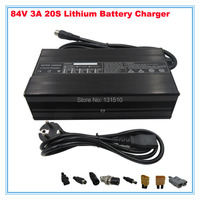 84V 3A Charger 72V Li ion Battery Smart Charger Used for 20S 72V 20AH Li ion Battery High Power With Fan Aluminum Case