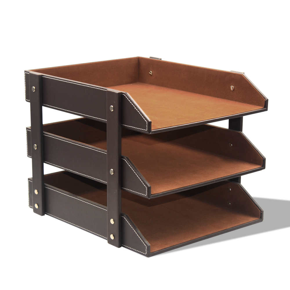 3 Layers Document holder PU Leather Desk A4 Document File-Tray Rack File Shelf Frame Paper Organizer For Office Supplies3 Layers Document holder PU Leather Desk A4 Document File-Tray Rack File Shelf Frame Paper Organizer For Office Supplies