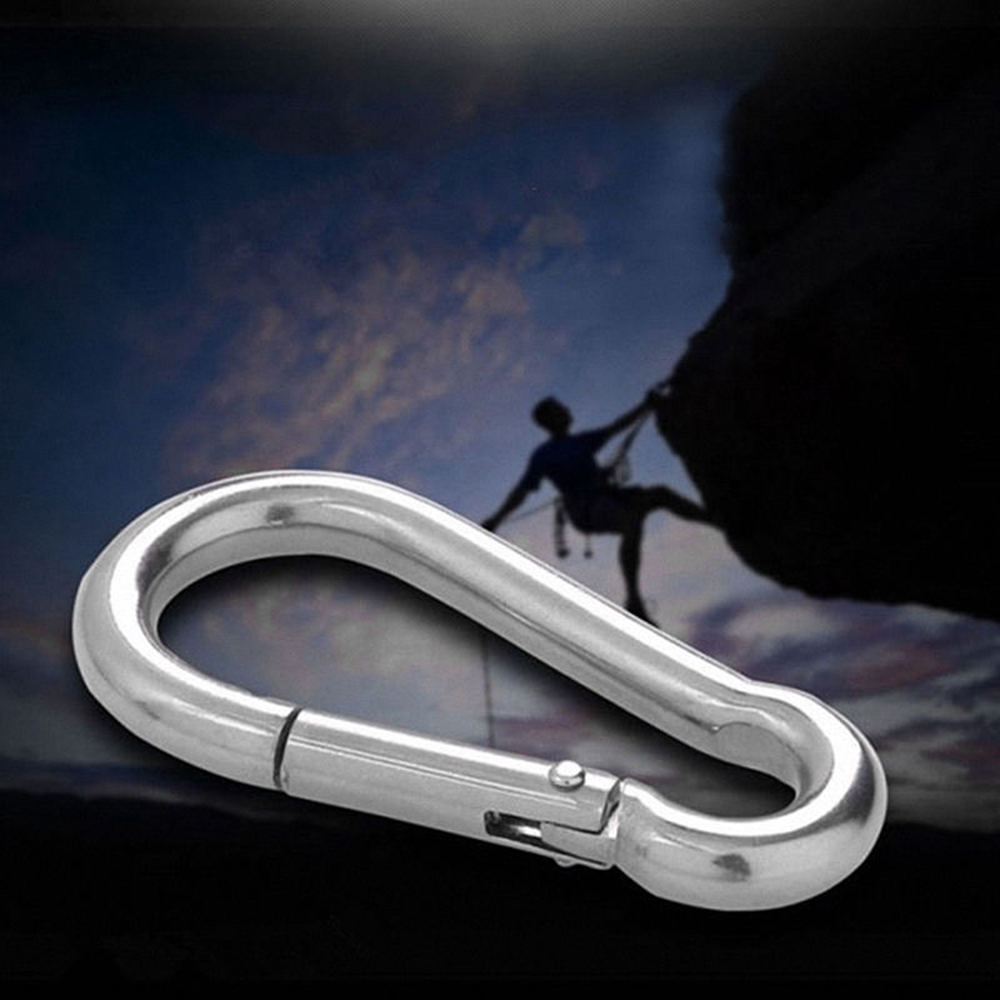5PCS/ Lot Climbing Accessories Multifunctional Stainless Steel Spring Snap Carabiner Quick Link Lock Ring Hook
