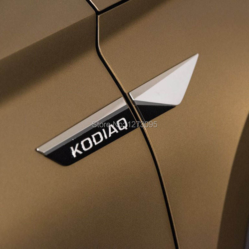 Pour 2017 2018 2019 Skoda Kodiaq Karoq ABS Voiture Côté de la Porte Aile Fender Emblème autocollant D'origine Extérieur style de voiture Accessoire