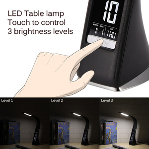 Image 5 - 5W Business LCD Display Alarm Clock LED Desk Lamp Dimming Control Folding Leather Texture Table Calendar 3 Levels Brightness