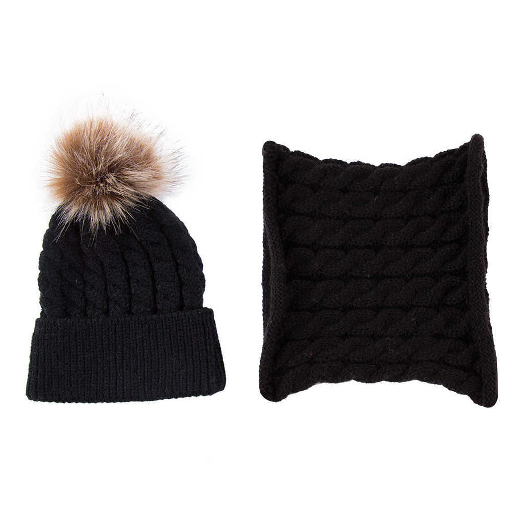 586103dc5d7 ... 2Pcs Set Baby Kids Knitted Hat Scarf Children Winter Warm Pompom Fur  Caps Beanie Cute Boys ...