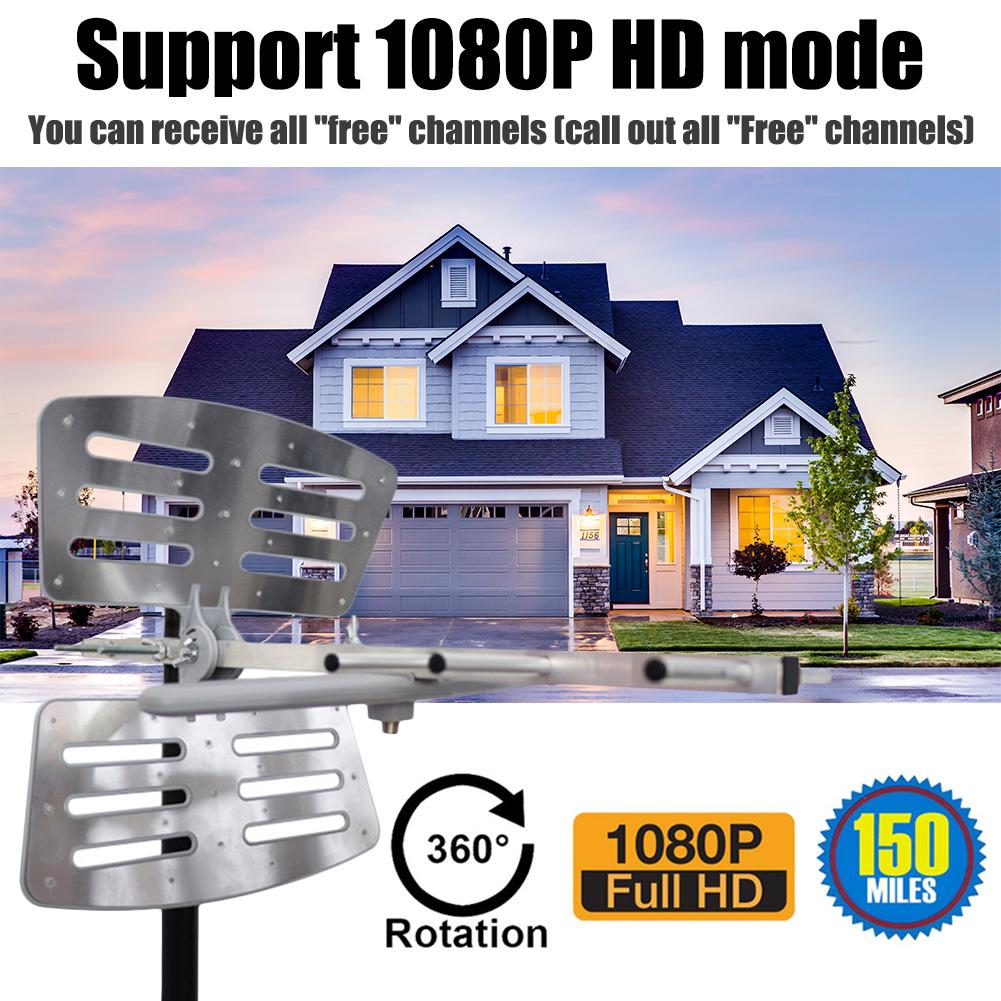 Image 4 - Outdoor Amplified Digital Antenna 360 Rotation HD TV UHF VHF FM 35dBi Long Range Antenna For ATSC HDTV 4K 1080P Power Adapter-in TV Antenna from Consumer Electronics