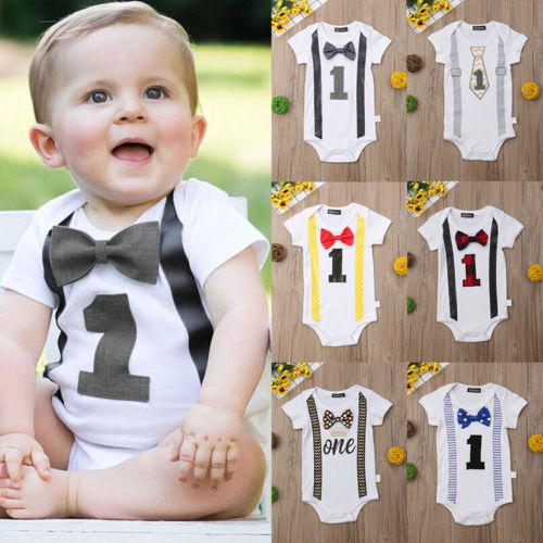Summer Baby Boy 1st Birthday Bow Tie Romper Bodysuit Jumpsuit One-Piece Outfits Cute Toddler Clothes