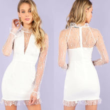 Polka Dot Mesh See Through Short Dress Women Ruffle Long Sleeve White Party Mini Dress Vestidos 2019 Lace Stand Collar Dresses sexy stand collar see through sleeveless dress for women