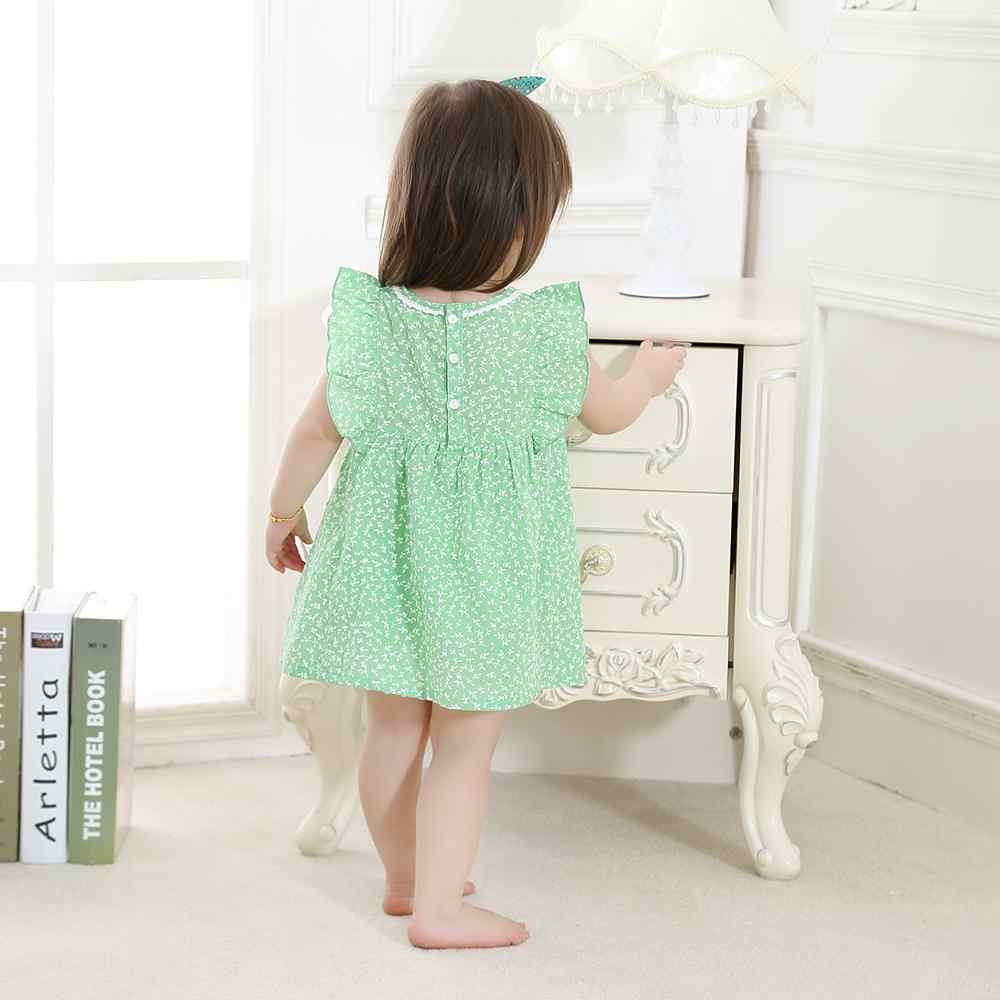 5efba67d52f37 2019 New Fashion Cute Baby Girl Kids Party Birthday Dress Clothes Toddler  Dresses Girls Summer Wear Printed Flowers 100% Cotton
