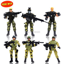 War on Terror Elite Heroes, Special Forces Weapons and Tactics, 6 Policemen with Gun, Army Puppet Toys, Movable Military Solider(China)