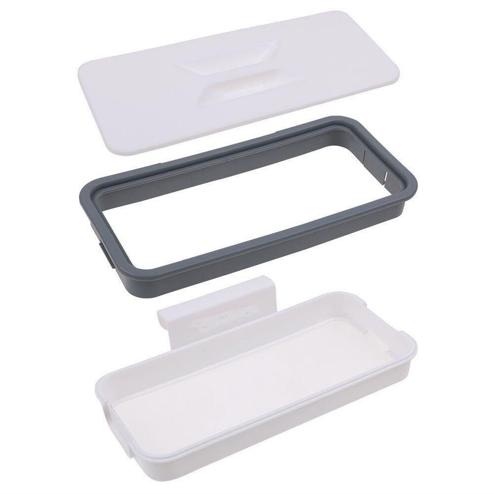 Держатель для мусорного мешка мешок для мусора ящик для кухни белый пластиковый удобный шкаф двери экономичный подвесной