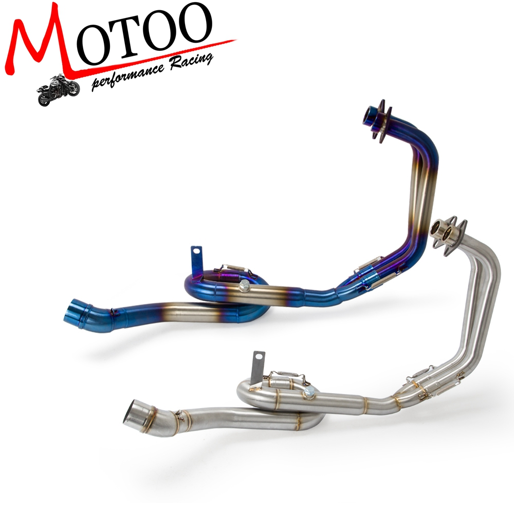 Motoo - Motorcycle Exhaust Muffler Link Mid Pipe System Steel Exhaust full system for Yamaha MT03 MT-03 R25 R3 2014-2016 Slip-On