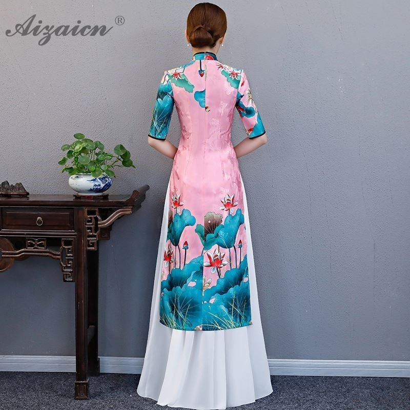 Modern Cotton Printing Cheongsam Two piece Set Qipao Women Traditional Chinese Dress Robe Orientale Collars Retro Dressing Gown in Cheongsams from Novelty Special Use