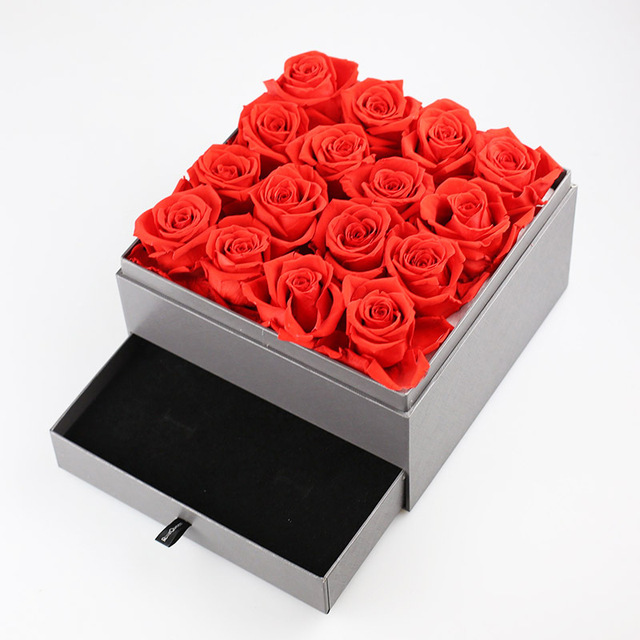 80b8069cd366f Preserved Flower Box Square Boxes Valentine S Day Gift For Wife Girlfriend  Birthday Surprise Rose Jewelry Box