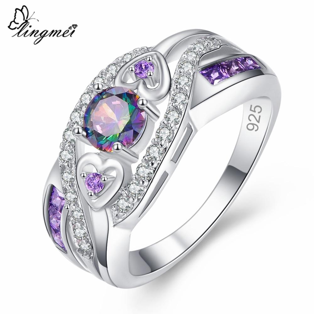 Oval Heart Cut Design Multicolor & Purple White CZ Silver  Ring Size 6 7 8 9