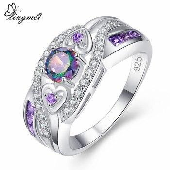 lingmei Oval Heart Cut Design Multicolor Ring
