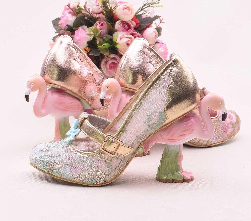 Tissu De Plus Paillettes 2019 Rond Femmes Le Talons Hauts Flamingo Piste Étrange blue Blue Chaussures Nouveau Style Bout Pompes Black Mariage Dame Abesire Modèle sky PCxHUEqww