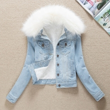 2019 Denim Jackets Fur Collar Hooded Warm Parka Winter Jacket