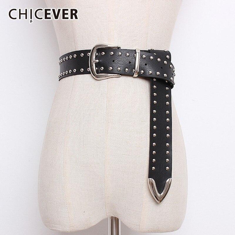 CHICEVER Rivet PU Leather Belts For Women Black Pin Buckle Women's Belt Female Pants Accessories Autumn Korean Fashion Tide 2019