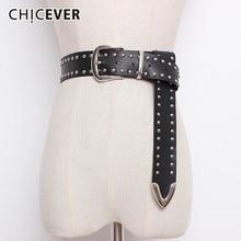CHICEVER Rivet PU Leather Belts For Women Black Pin Buckle Womens Belt Female Pants Accessories Autumn Korean Fashion Tide 2020