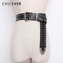 Chicever リベット pu レザーベルト女性のための黒ピンバックル女性のベルト女性パンツアクセサリー秋の韓国のファッション潮 2020