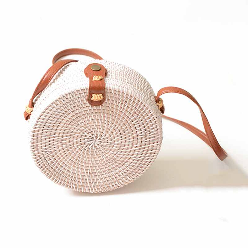 Persevering Women Handmade Round Beach Shoulder Bag Circle Straw Bags Summer Woven Rattan Handbags Women Messenger Bags black Bag Parts & Accessories