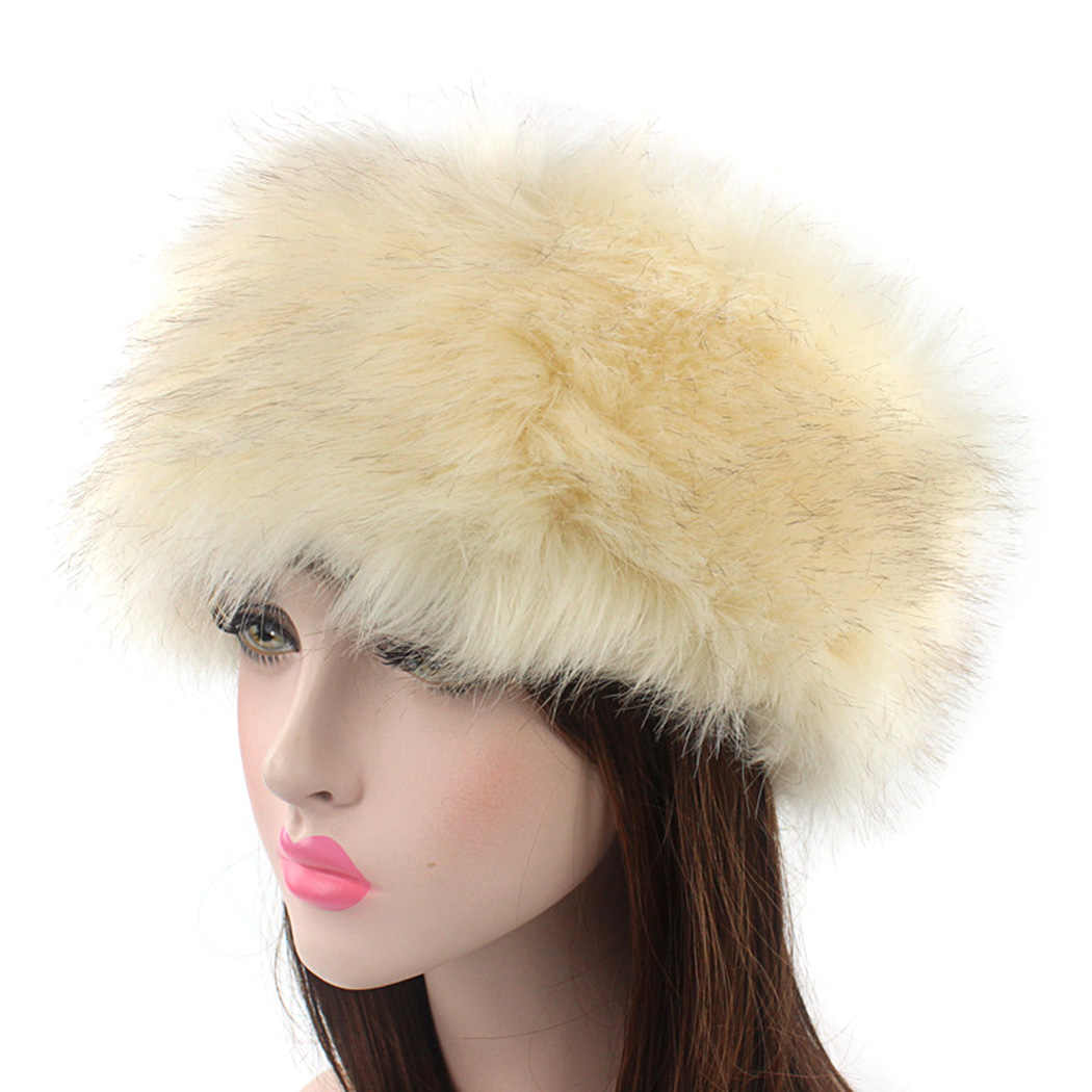 8f51942102f Fashion Ladies Solid Bomber Cap Fluffy Russian Hats Women Faux Fox Fur Hat  Headbwear Winter Thick
