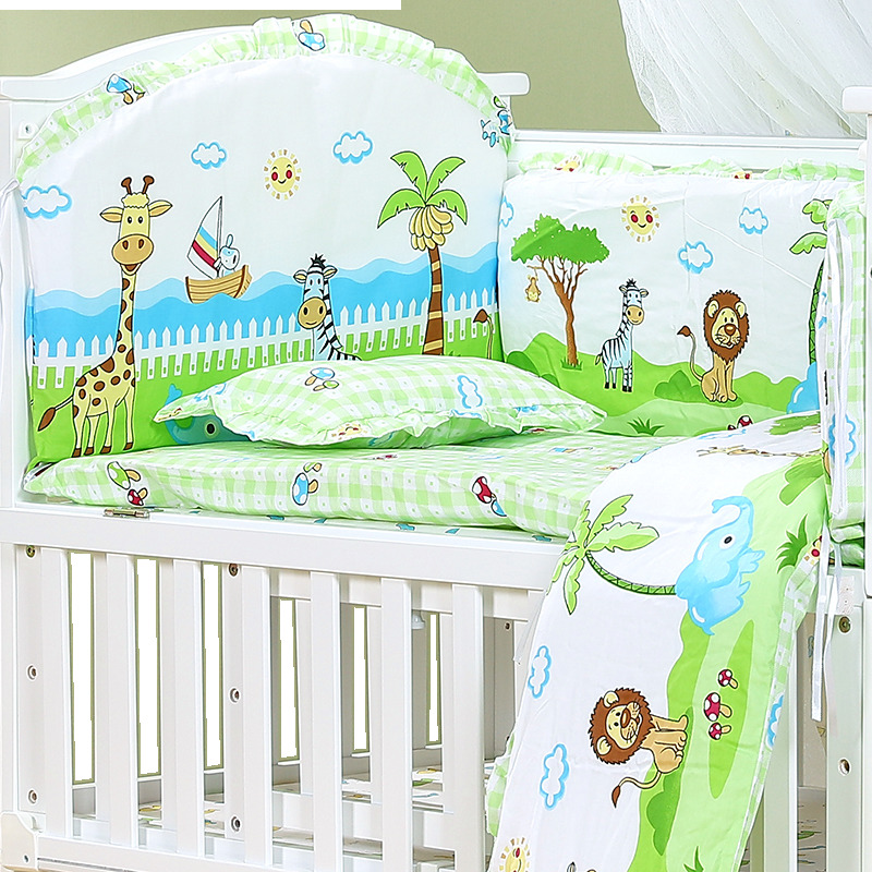 120*70cm 6pcs Pure Cotton Baby Bed Bumper Removable Newborn Baby Bedding Crib Bumper Baby Room Decor Kids bedding image