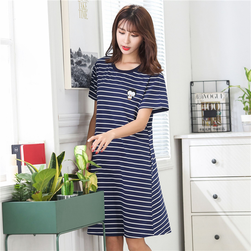 2019 Pajamas For Women Cotton Sleepwear Summer New Plus Size Female Sleeping Skirt Loose Stripe Pijama Mujer Sexy Home Clothes in Sleep Tops from Underwear Sleepwears
