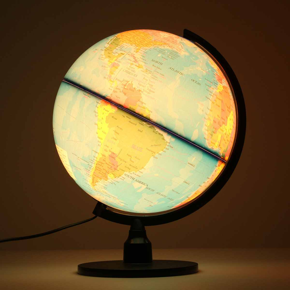 Monde Globe terre terrestre carte avec support lumière LED terrestre Tellurion décoration de la maison bureau ornement enfants cadeau jouets