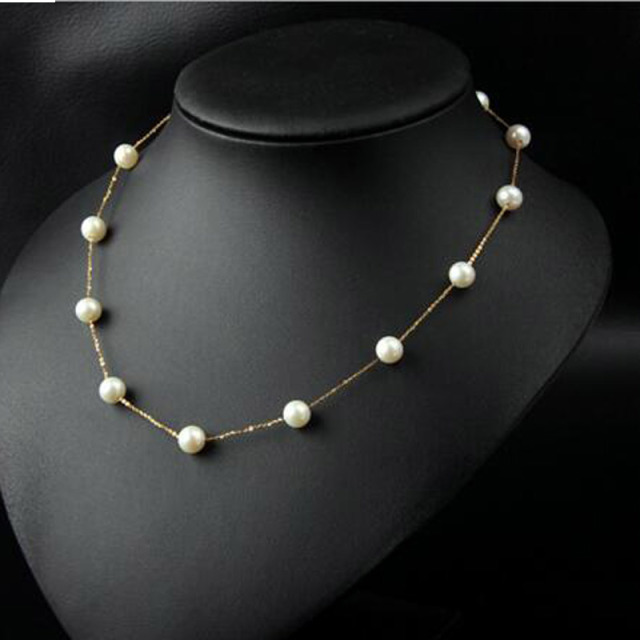 3e41873f86e US $120.26 18% OFF|Free Ship Gift Packed 7 8mm Round 3A Grade Freshwater  Pearl Beads Gold Chain Jewelry Necklace 45cm-in Chain Necklaces from  Jewelry ...