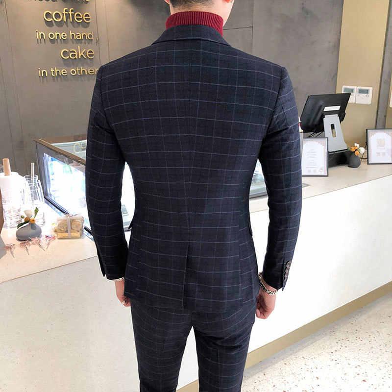 2018 סתיו החורף ארוך שרוול עסקי חליפת מעילי גברים באיכות גבוהה גברים בליזר אופנה בתוספת גודל מזדמן Mens משובץ בלייזר מעיל
