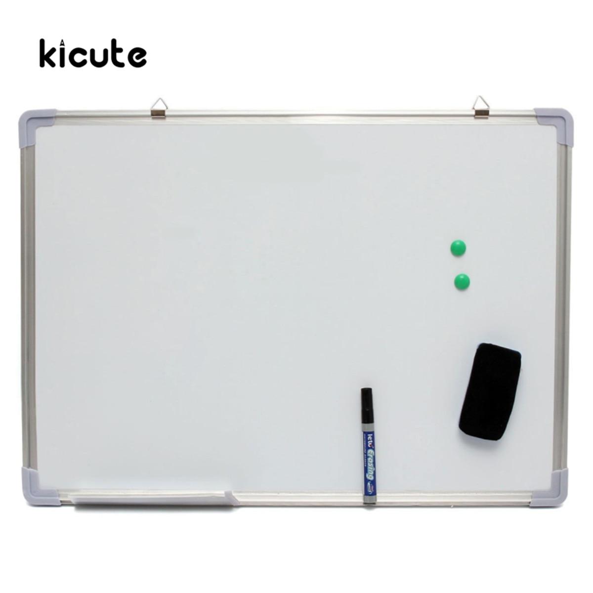 Kicute 500x700 MM tableau blanc effaçable à sec magnétique Double face avec stylo effaçable aimants boutons pour école de bureau