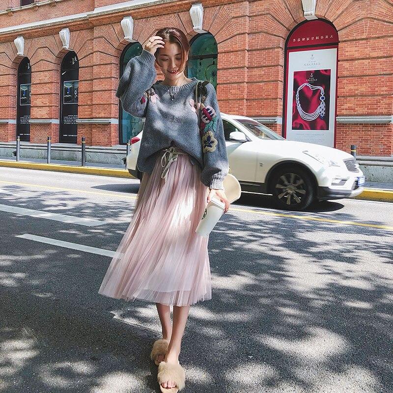 Femme Fleur pink Roulé Gray 2018 blue Lâche Hiver À Col Pull Casual Femmes De Nouvelle Blouses Cru Perle Chandail 7 Brodé gqftw6xISR