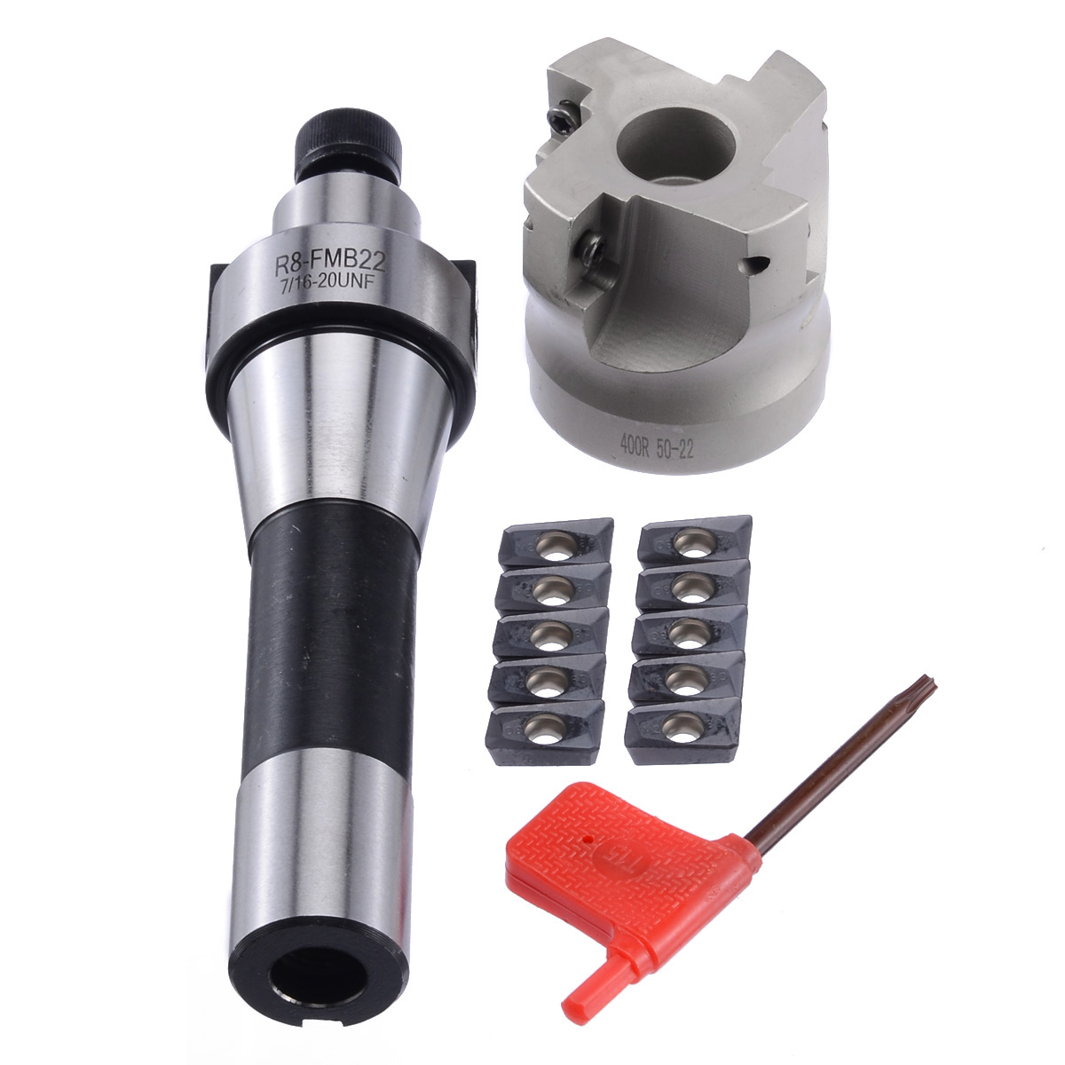 400R 50MM Milling CNC Face End Mill Cutter Kit + 10pcs APMT1604 Carbide Inserts + R8 Shank Arbor for Power Machine Tool