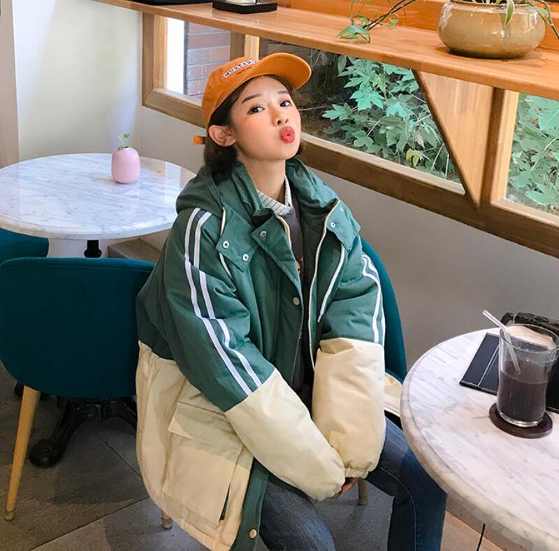 Lâche Vêtements Épais as Couleur Coton Nouvelle Harajuku 3 Veste Version Photo Hiver Bf As 1 as À Correspondant 2 Capuche Coréenne Femelle trhQdCxs