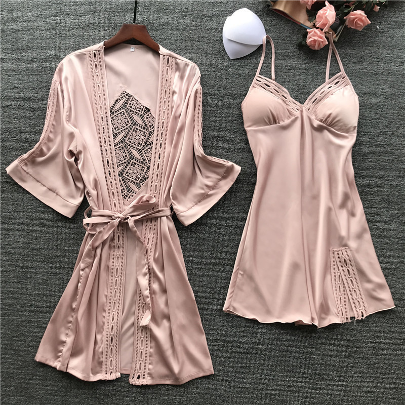 Spring New Fashion Hollow Dedigan Woman Robe Set  2 Pcs With Chest Pad Spaghetti Strap Sexy Sleepwear