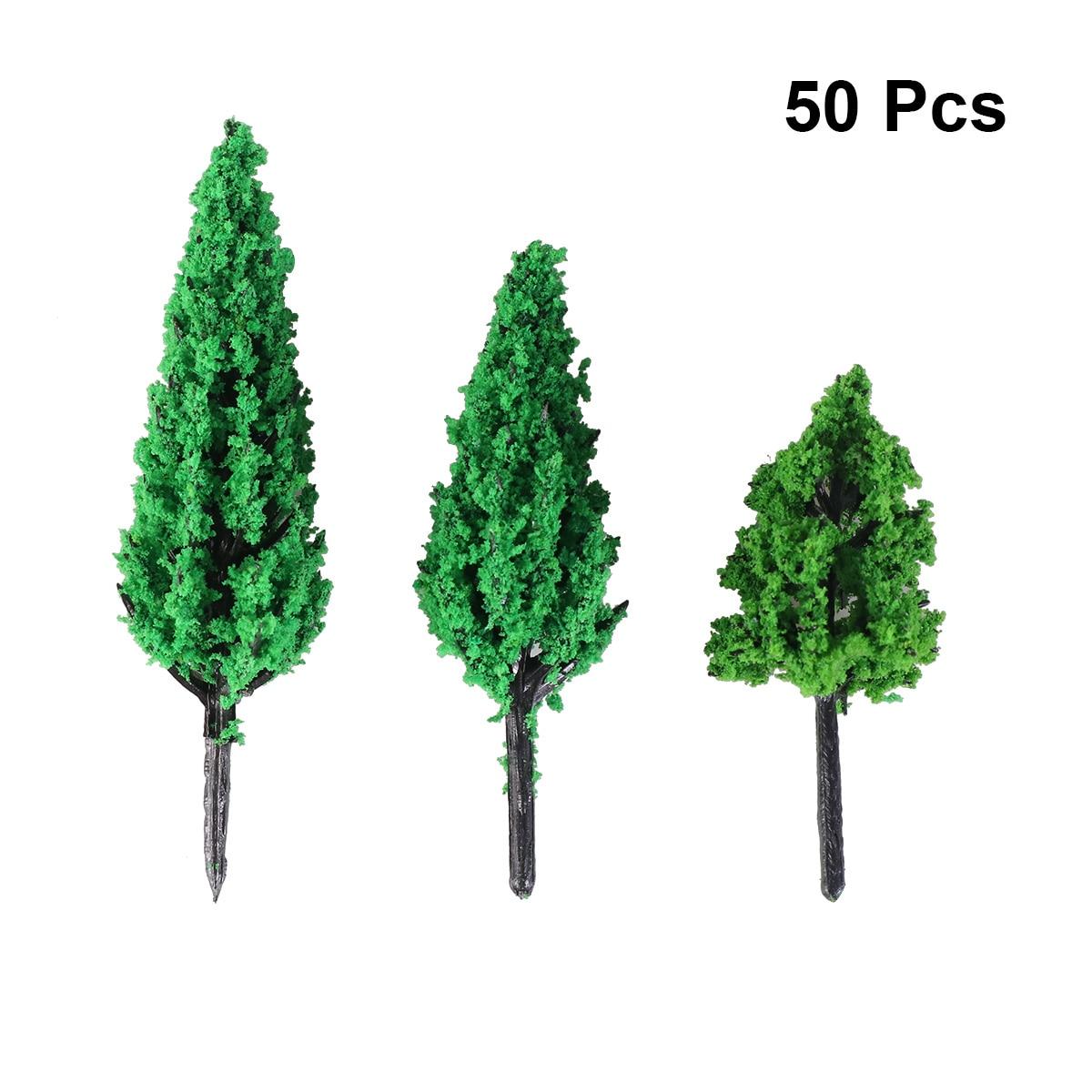 50pcs Model Trees Park Pine Poplar Forest Pagoda Miniature Diorama Micro Layout Scenery Decoration Mininatures