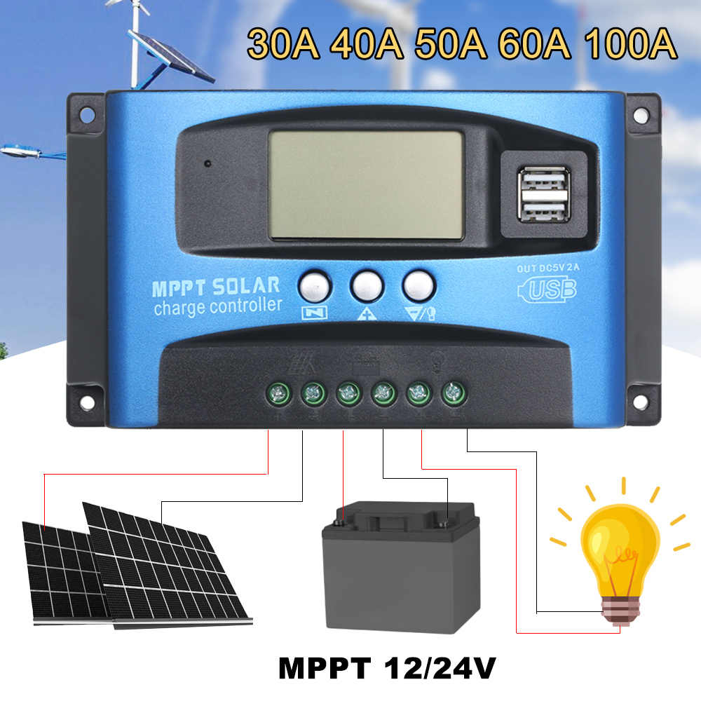 30/40/50/60/100A MPPT Solar Charge Controller Dual USB LCD Display Auto 12/24V Solar Cell Panel Charger Controller Regulator