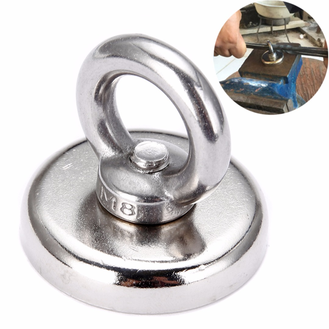 48*58mm 60Kg Salvage Strong Recovery Magnet Neodymium Eyebolt Circular Ring For Key Recovering Holding Fixture Magnetic Base suleve 75x80mm neodymium recovery magnet metal detector eyebolt circular ring magnet 165kg