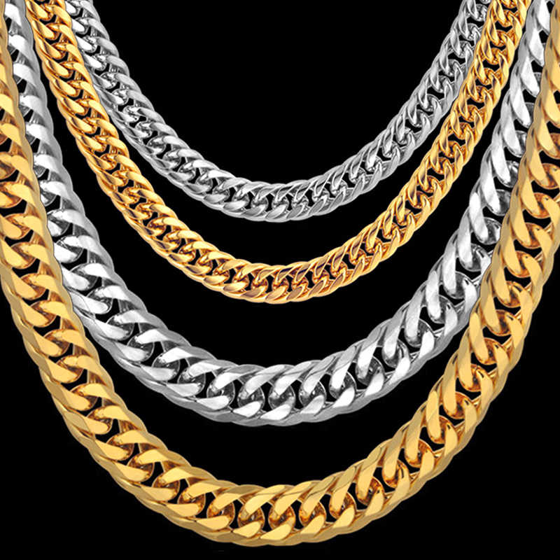 Men's Necklace Thick Gold/Silver Color Stainless Steel Male Cuban Link Chains Necklaces For Men Hip Hop Jewelry