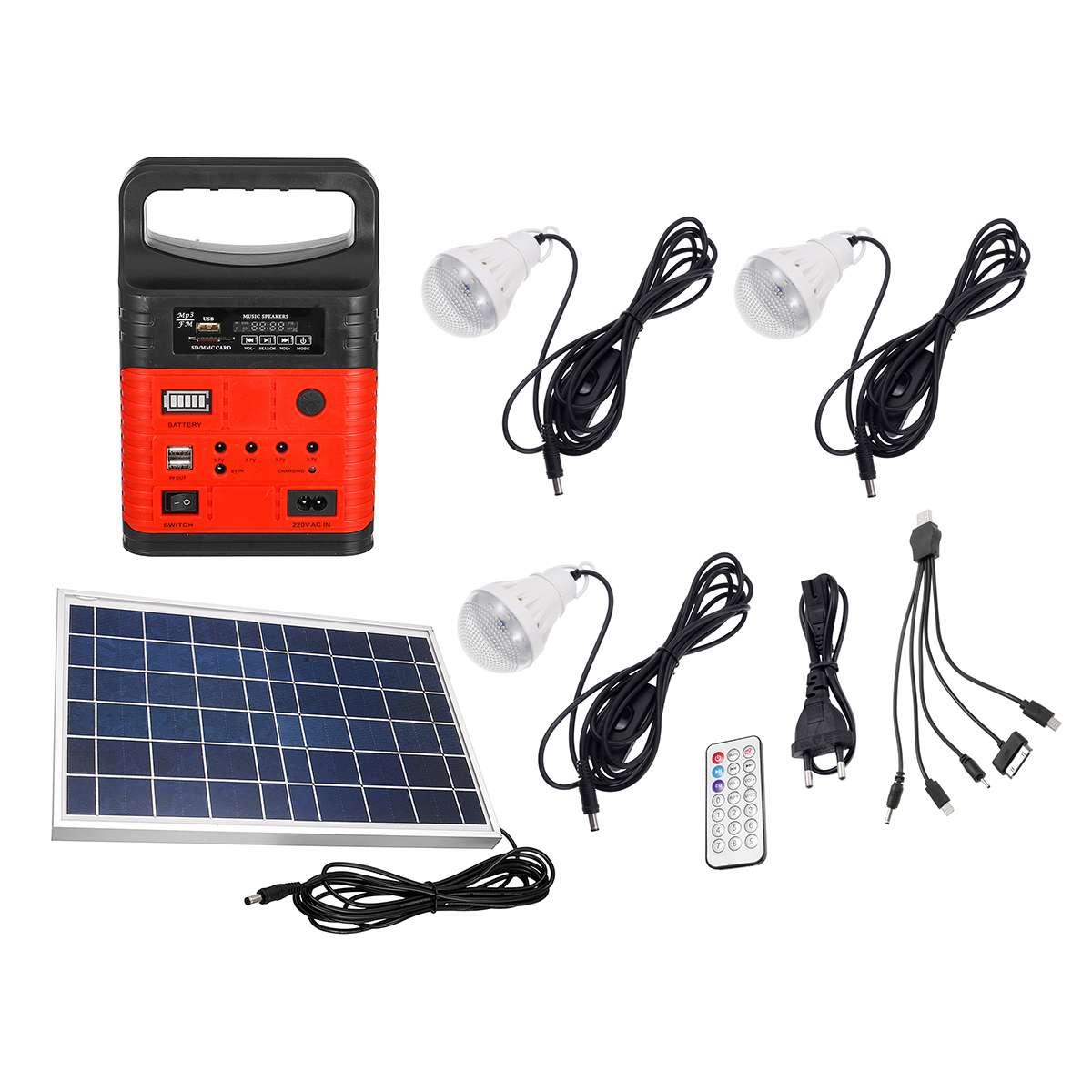 7500 mAh Portable LED d'urgence MP3 FM panneau solaire éclairage de charge système alimenté lampe de poche solaire Mobile Radio de puissance