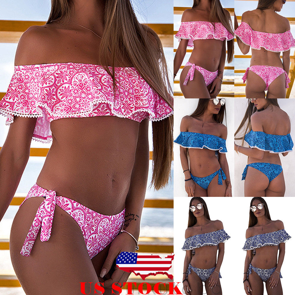 2019 Sexy Off Shoulder Ruffles Bikini Two Pieces Swimsuit Female Swimwear Women Floral Bandage Bikini Set Bathing Suit Biquini
