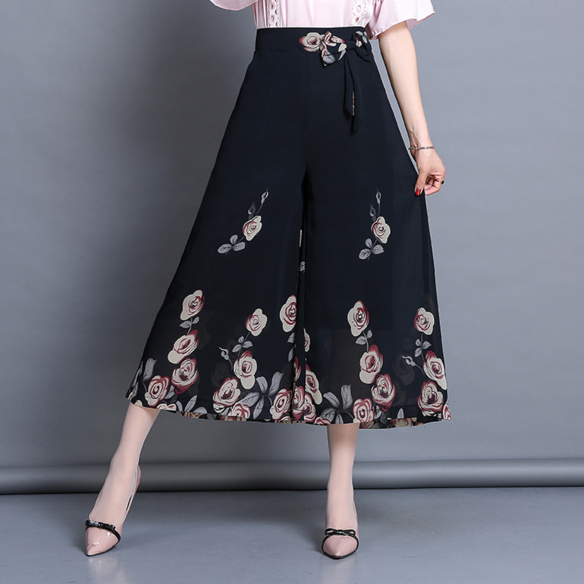 Women New Summer Wide Leg Pants Casual High Elastic Waist Floral Print Chiffon Pants Loose Belt Trousers Plus Size 5XL