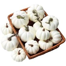 Gresorth 12 PCS Fake White Pumpkins Artificial Vegetable Home Party Kitchen Decoration