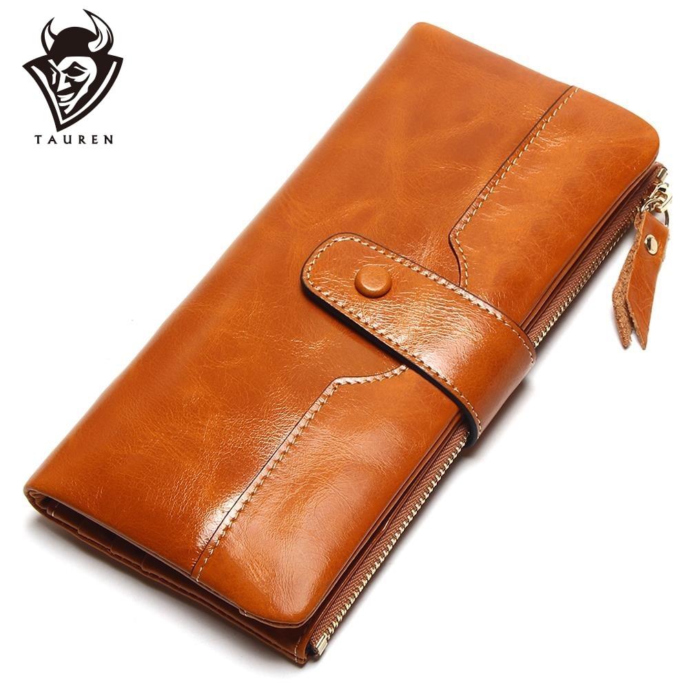 TAUREN 100% Äkta Läder Kvinnor Telefon Plånbok Lång Handväska Lady OljeVax Cowhide Flera Kort Hållare Koppling Mode Plånbok