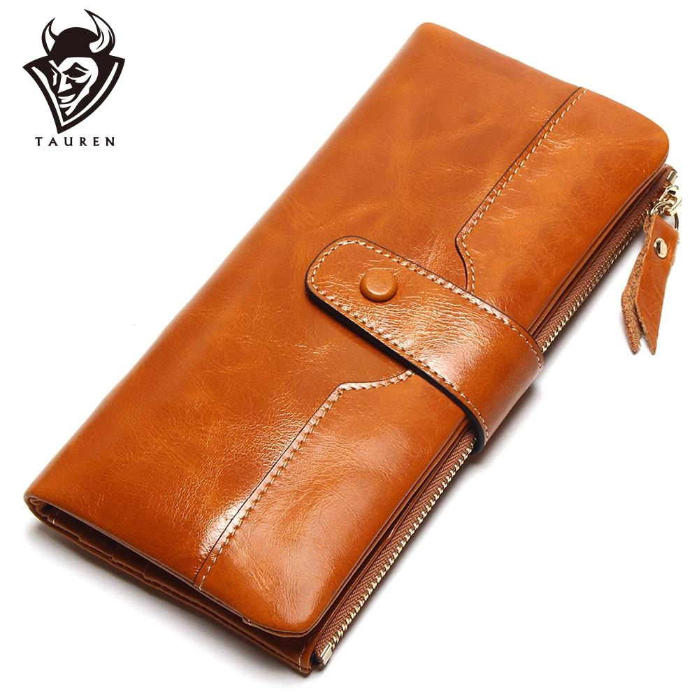 TAUREN 100% Kulit Tulen Wanita Telefon Wallet Purse Lama Lady Oil Wax Cowhide Pelbagai Kad Pemegang Clutch Wallet Fashion