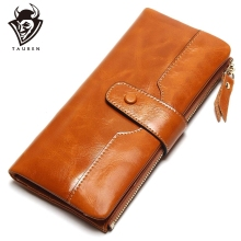 TAUREN 100% Genuine Leather Women Phone Wallet Long Purse Lady Oil Wax Cowhide Multiple Cards Holder Clutch Fashion Wallet