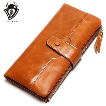 TAUREN 100% Genuine Leather Women Phone Wallet Long Purse Lady Oil Wax Cowhide Multiple Cards Holder Clutch Fashion