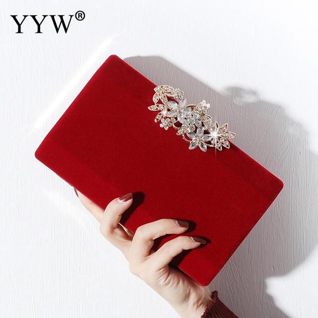 אירופאי אופנה נובל ליידי ריינסטון ערב מצמד Tote תיק בורדו שחור זהב מוצק נשים כתף שרשרת זמש משטח